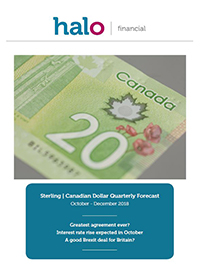 Sterling - Canadian Dollar quarterly forecast Oct-Dec 2018