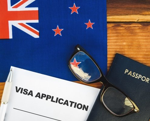 Flag of New Zealand, visa application form and passport on table