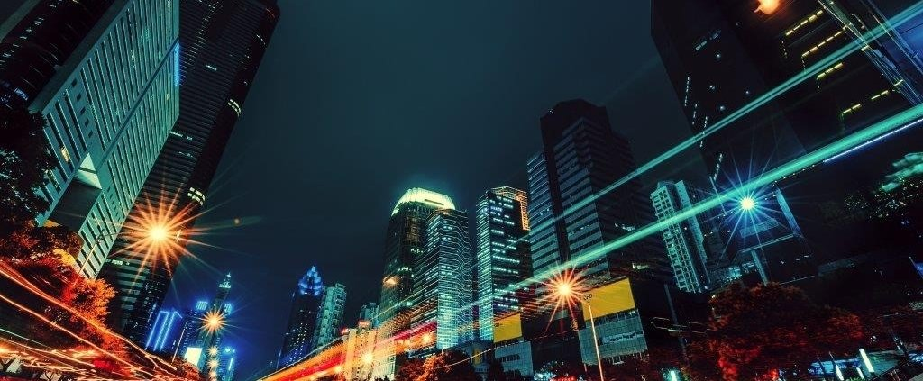 Chinese streets with lights and high buildings