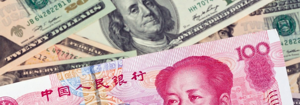 Chinese Yuan and US Dollar banknotes