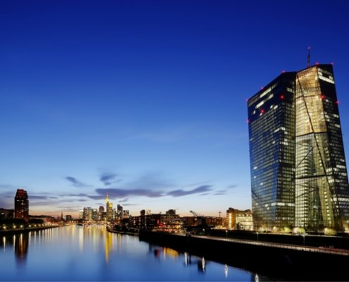 European Central Bank building in the evening