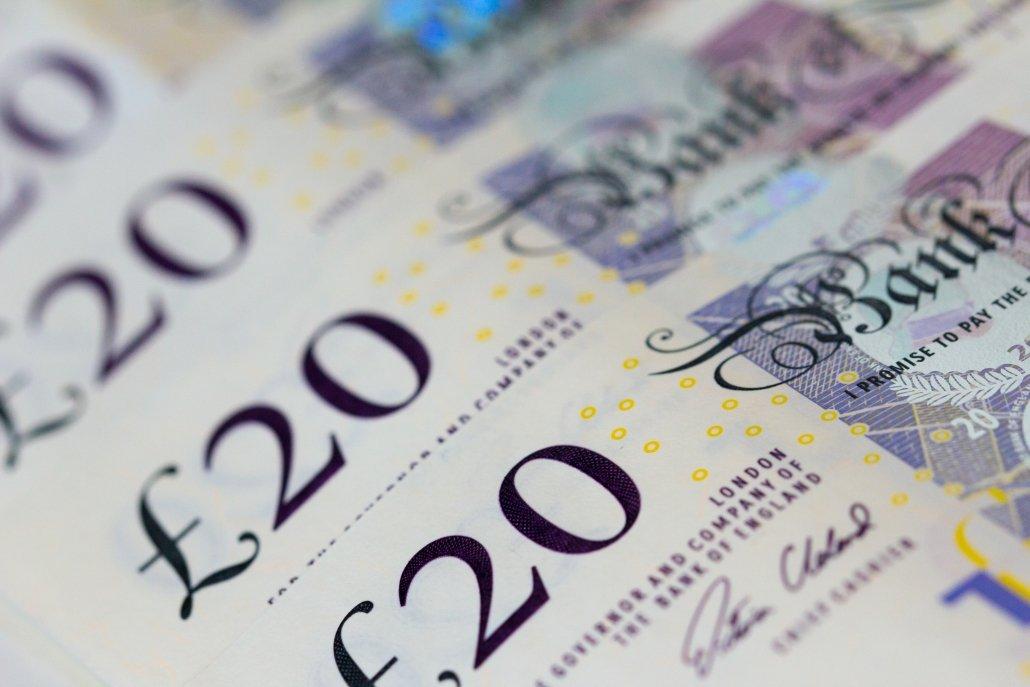 A close up image of twenty pound notes (sterling continues its recovery)